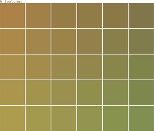 grid of colour swatches in graduation. Tan colour.
